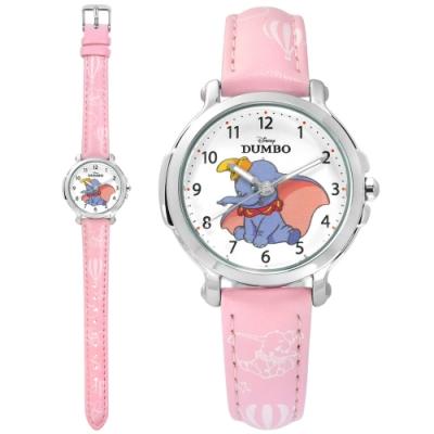 Disney 迪士尼 小飛象 Dumbo 日本機芯 兒童卡通 皮革手錶-白x粉/32mm