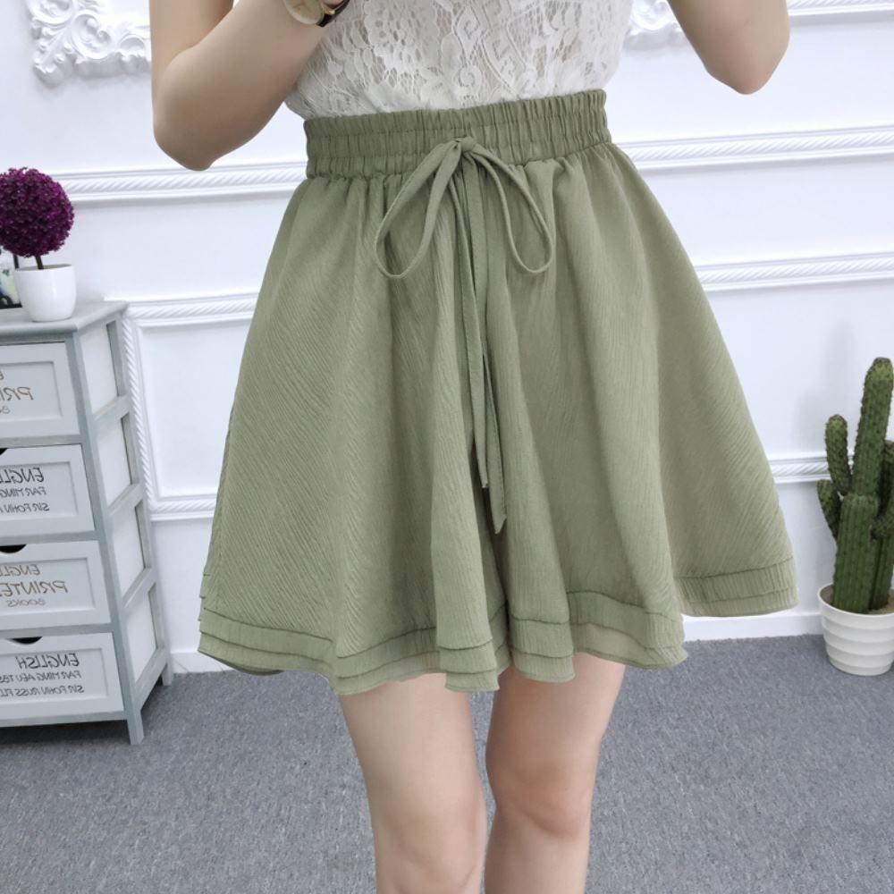La Belleza素色鬆緊腰抽繩雙層波浪裙擺棉麻闊腿短褲裙