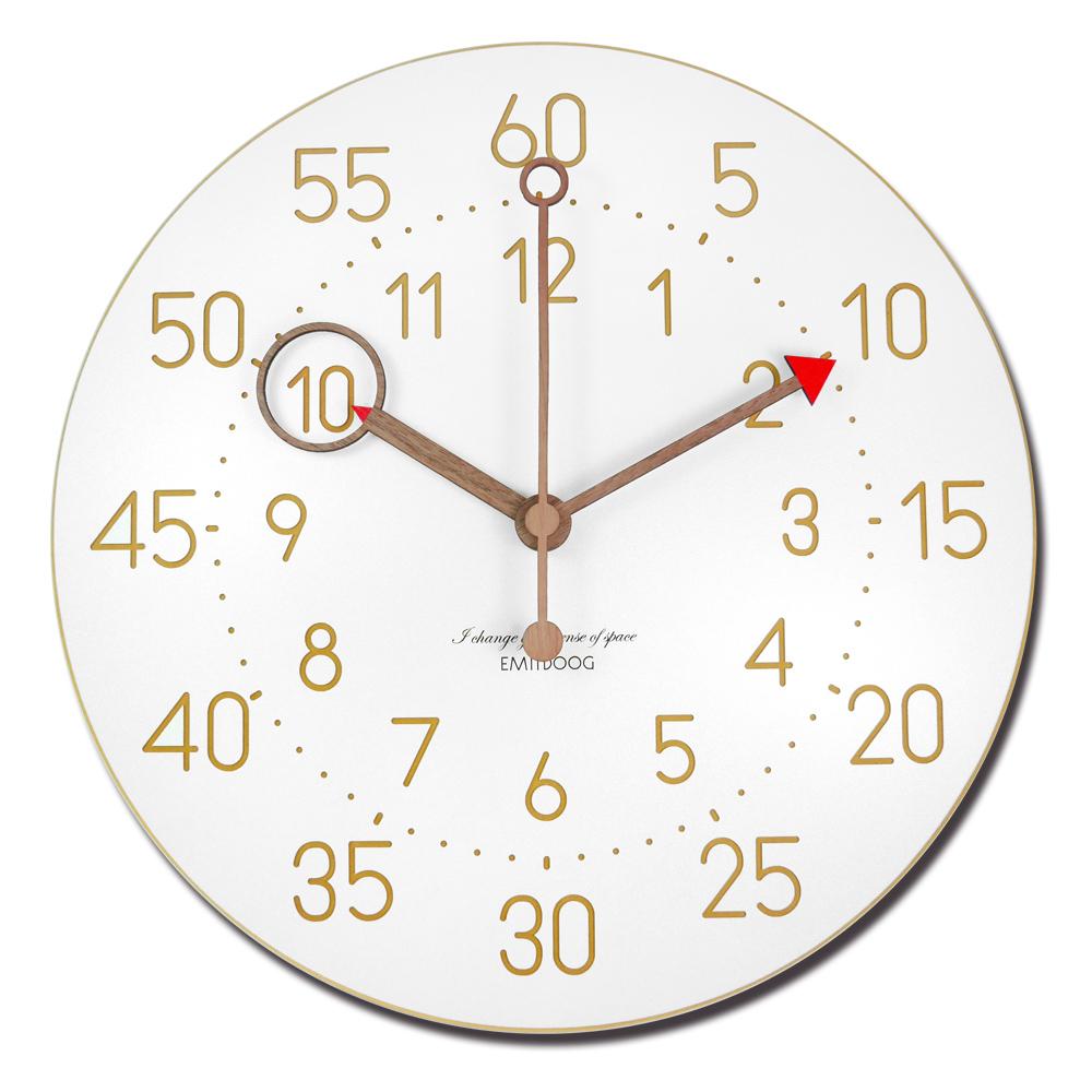 12吋 居家擺飾 輕薄簡約 北歐風 無印風 數字時標 餐廳客廳臥室 靜音 圓掛鐘 - 白色