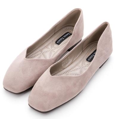 River&Moon韓系方頭素面Q彈超柔軟麂絨舒適平底鞋 灰