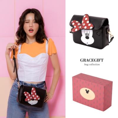 Disney collection by gracegift蝴蝶結翻蓋側背方包 紅