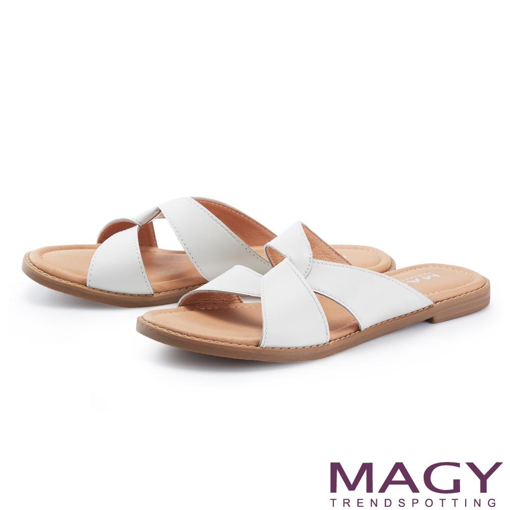 MAGY 寬版真皮造型交叉平底 女 拖鞋 白色