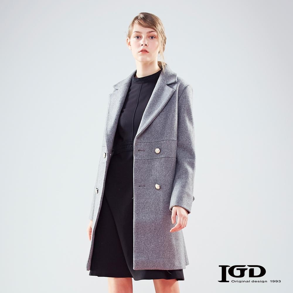 【IGD 英格麗】精緻雙排珍珠扣飾翻領毛呢大衣-淺灰