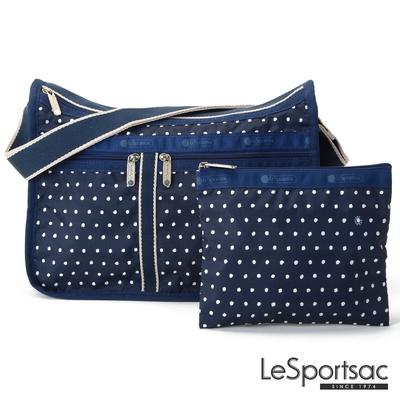 LeSportsac - Standard 雙口袋A4大書包-附化妝包 (藍底白點)