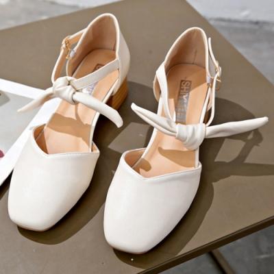 KEITH-WILL時尚鞋館 破盤價耀眼質感粗跟鞋 米白