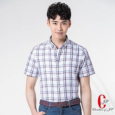 Christian 頂級棉料格子休閒襯衫_紅藍格(RS835-55)