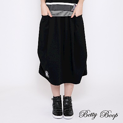 Betty Boop貝蒂 雙排釦鬆緊七分裙(黑色)