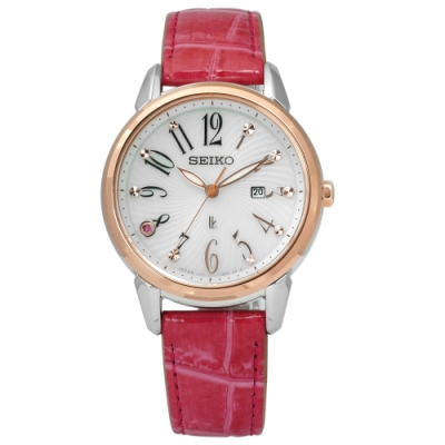 SEIKO 精工 LUKIA 限量 太陽能 鱷魚皮手錶-銀灰x玫瑰金框x桃紅/32mm