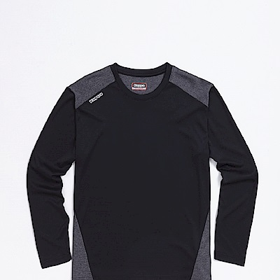 KAPPA義大利 精典女吸濕排汗長袖衫~黑深灰麻花304P7F0912