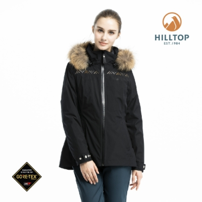 【hilltop山頂鳥】女款GORE-TEX三合一羽絨短大衣F22FZ3黑美人