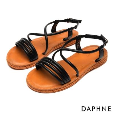 達芙妮DAPHNE 涼鞋-純色條帶繞踝縷空平底涼鞋-黑