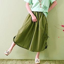 La Belleza側抽繩皺抽皺棉麻褲裙鬆緊腰七分闊腿褲裙(軍綠)