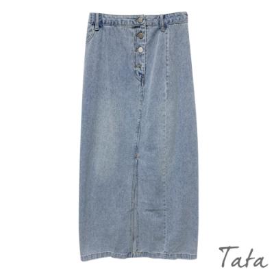 高腰排扣開岔牛仔長裙 TATA-S