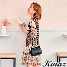 KINAZ 甜蜜約會兩用斜背口金包-加侖黑-森林午茶系列