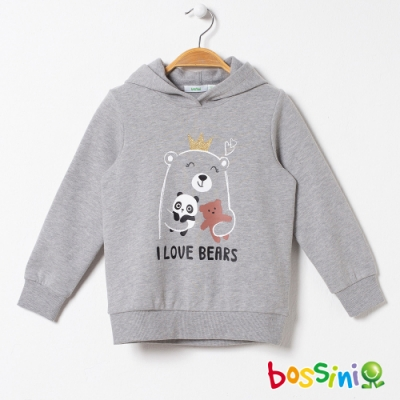 bossini女童-圖案連帽厚棉T恤01灰