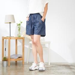 慢 生活 鬆緊腰假扣造型棉麻感短褲- 深藍