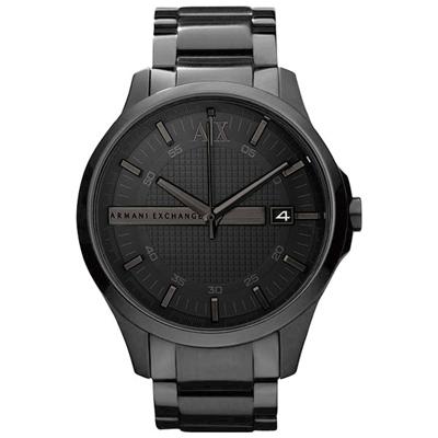 A│X Armani Exchange 城市旅人格紋紳士腕錶-IP黑/46mm