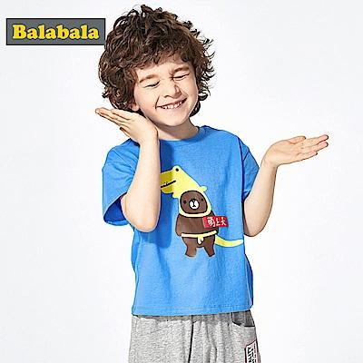 Balabala巴拉巴拉-趣味小熊印花純棉短袖T恤-男(3色)