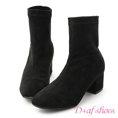 D+AF 時尚潮流.素面小方頭絨料中跟襪靴*黑