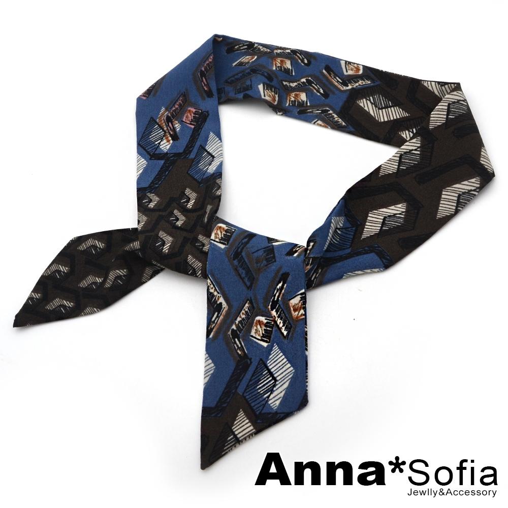 AnnaSofia 幾何線繪 細版仿絲小領巾絲巾髮帶包包綁帶(藍咖系)