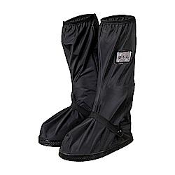 防水 雨鞋套 長筒 雨靴  耐磨 高筒 不掉腳跟 防滑 拉鍊防水層-黑色