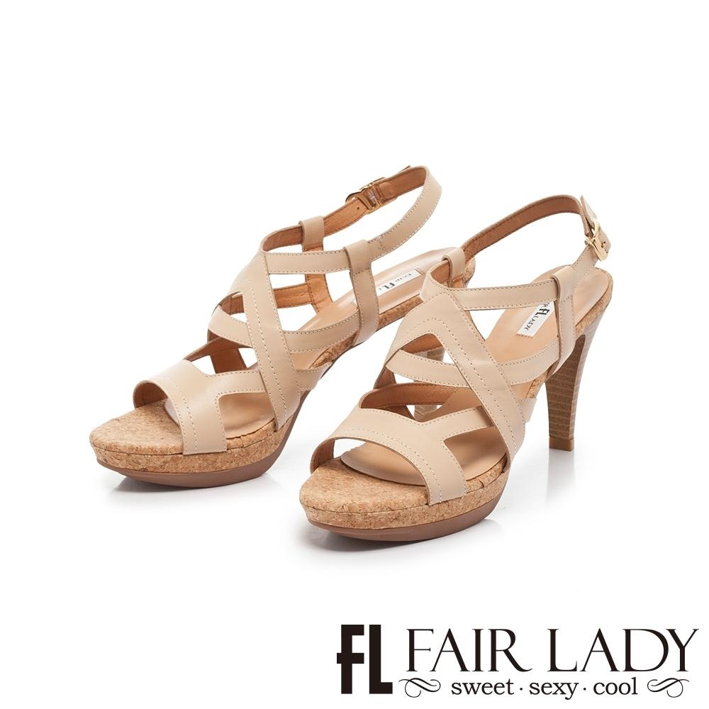 FAIR LADY Early Summer交叉繞帶皮革高跟涼鞋 卡其