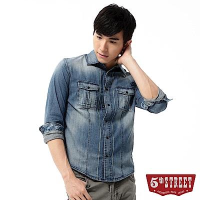 5th STREET 繡線牛仔襯衫-男-石洗藍