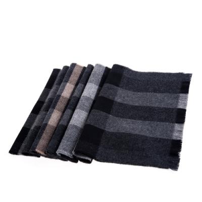BURBERRY 經典格紋羊毛圍巾 (黑色/176X28)