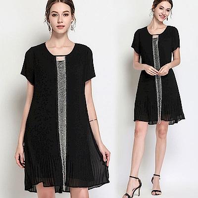 黑色氣質拼接鏈條雪紡短袖洋裝S~5XL-KVOLL