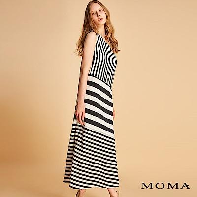 MOMA 條紋拼接長版洋裝