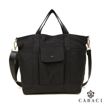 CABACI 輕量水洗尼龍材質手提斜背兩用包-黑色