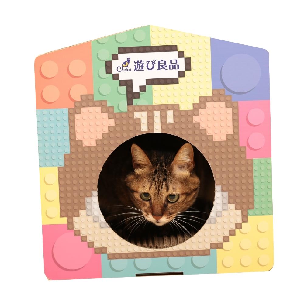 Catfeet遊玩良品 波浪耐磨貓抓板積木窩