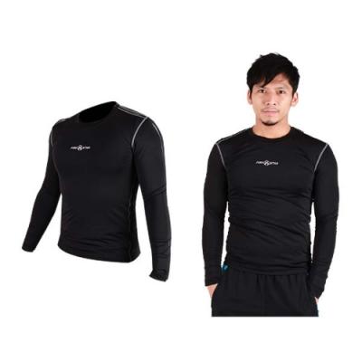 FIRESTAR 男緊身長袖T恤-慢跑 路跑 運動T恤 黑