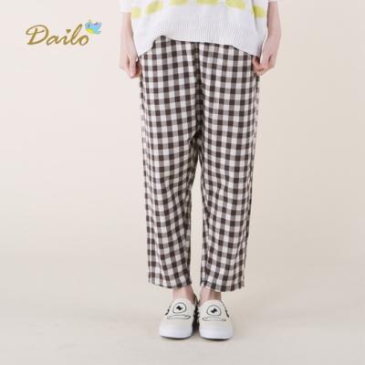 【Dailo】英倫風格子寬鬆-長褲(咖色)