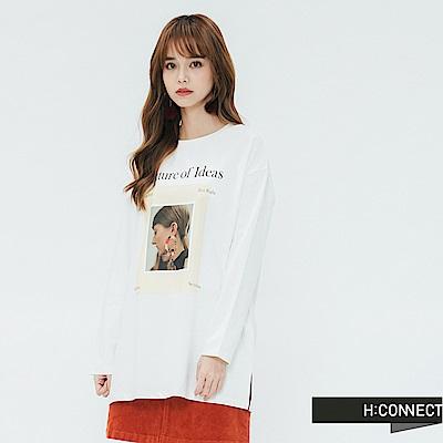 H:CONNECT 韓國品牌 女裝-圖像印製長袖T-shirt-白