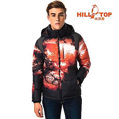 【hilltop山頂鳥】男款超潑水保暖蓄熱羽絨短大衣F22MY6暗橘印花
