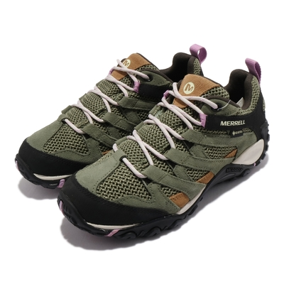 Merrell 戶外鞋 Alverstone GTX 女鞋 登山 越野 防水 抗菌防臭 避震 耐磨 綠 棕 ML035714