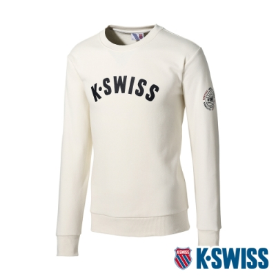 K-SWISS Curve Ks Logo Sweatshirt刷毛圓領上衣-男-米白