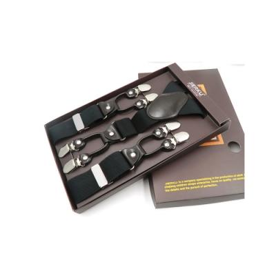 Laifuu拉福,英倫吊帶六夾紳士吊帶附紙盒(黑)