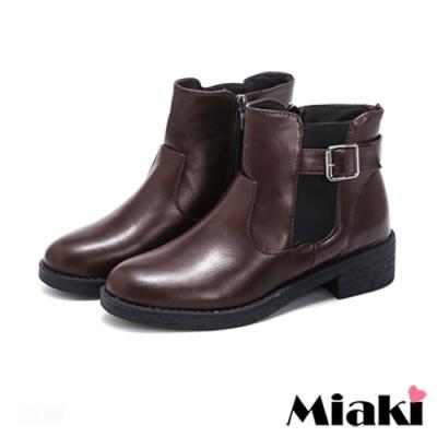 Miaki-短靴經典設計拉鍊低跟踝靴-棕