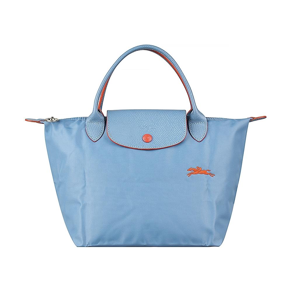 LONGCHAMP COLLECTION刺繡LOGO尼龍摺疊短把拉鍊手提包(小/霧藍x橘)
