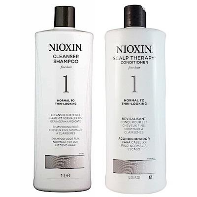 NIOXIN麗康絲 賦活#1深層賦活頭皮潔淨露1000ml+賦活#1頭皮理療霜1000ml