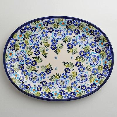 【波蘭陶 Zaklady】 青藍夏日系列 橢圓形餐盤 29cm 波蘭手工製