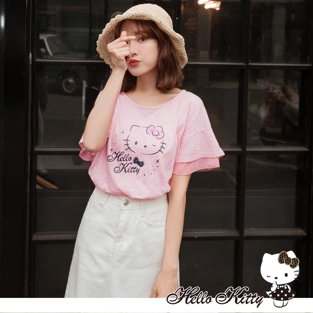 台灣製造.法國Kitty高含棉層次荷葉袖上衣-OB大尺碼