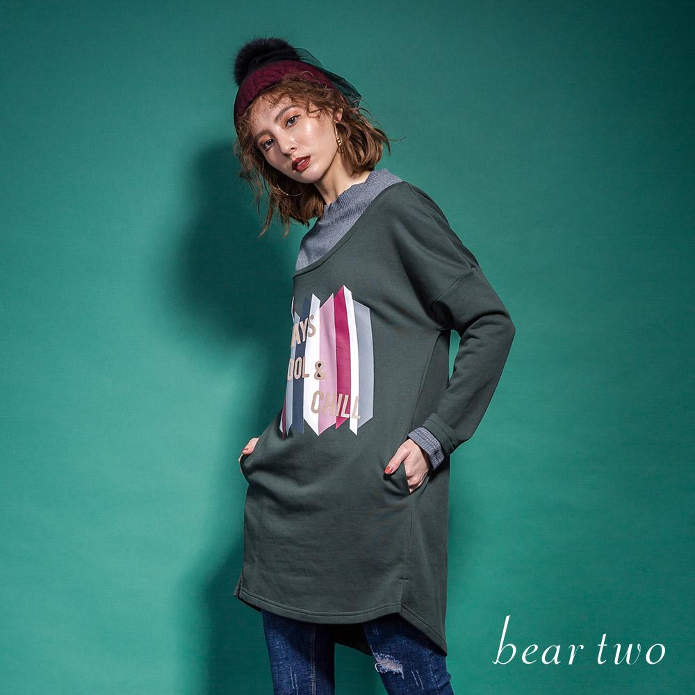beartwo 斜肩假兩件式長版造型T恤(二色)