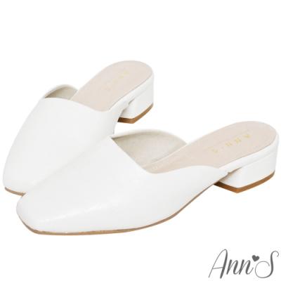 Ann'S高冷姿態-寬腳OK鱷魚壓紋方頭穆勒鞋 -白(版型偏小)