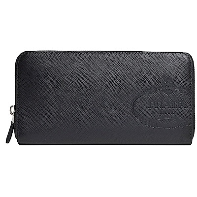 PRADA SAFFIANO PRINT 品牌大圖騰LOGO防刮牛皮對折長夾(黑)