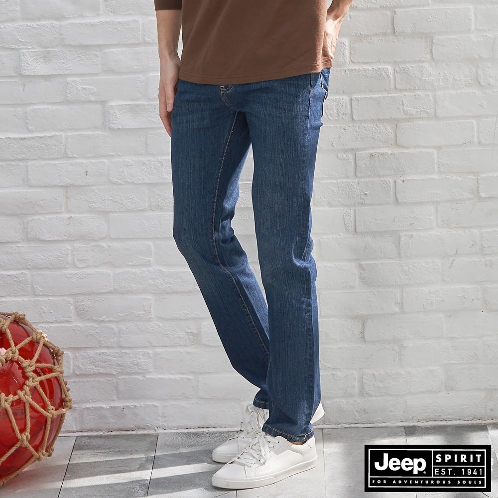 Jeep 男裝 經典原色修身牛仔褲-深藍