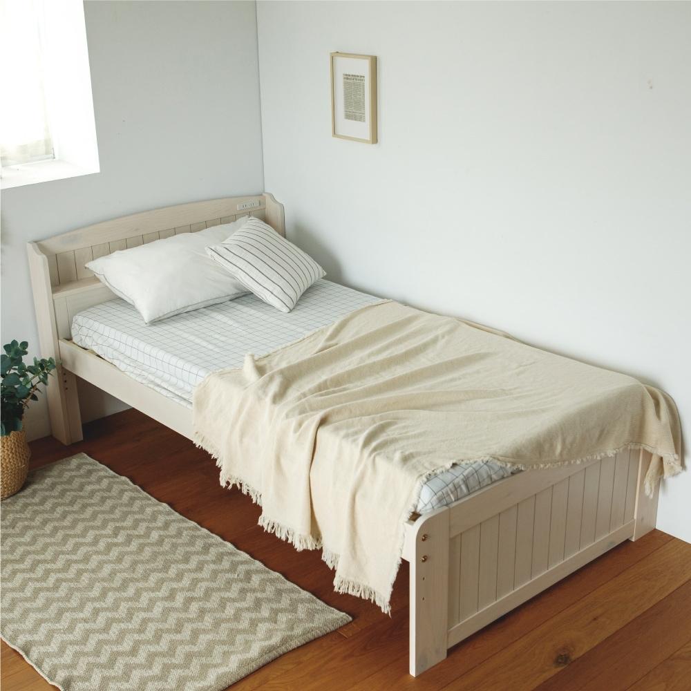 完美主義 木紋3.6尺附插座加高單人床架/床台/床板高度可調(2色)
