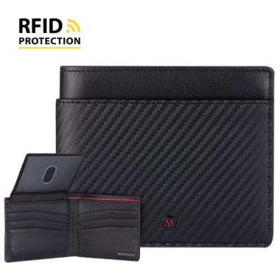 MONDAINE 瑞士國鐵 蘇黎世系列RFID防盜 ID視窗8卡短夾 - 碳纖維紋